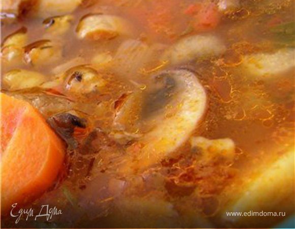 Острый томатный суп с грибами и чечевицей