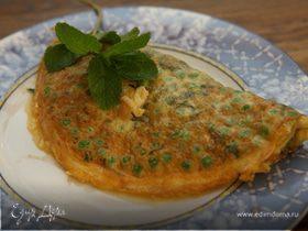 Мятный омлет с зеленым горошком