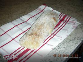 Хлеб чиабатта с оливками и семенем льна