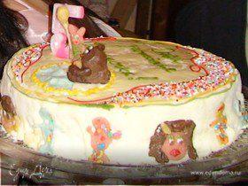 """Торт на день рождения """"Полянка Винни Пуха"""""""