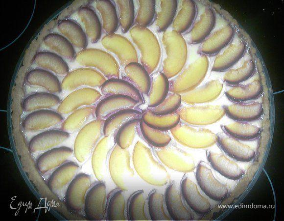 Пирог творожный со сливами
