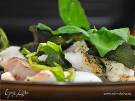 Треска паровая с микс-салатом. (Steam Cod Fish & Mix Salad)