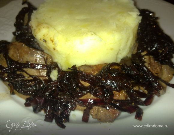Куриная печень с луком бальзамико