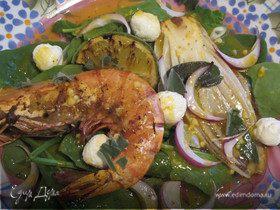 Салат из шпината,креветок,цикория с яичным соусом