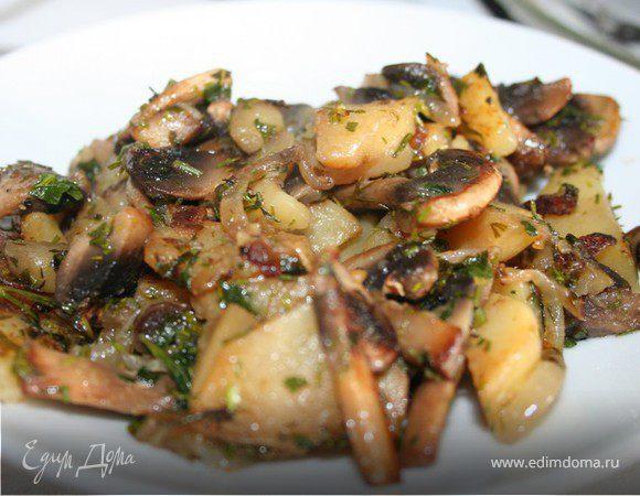 Картофель с грибами (постное блюдо)