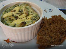 Омлет с зеленью и грибами.