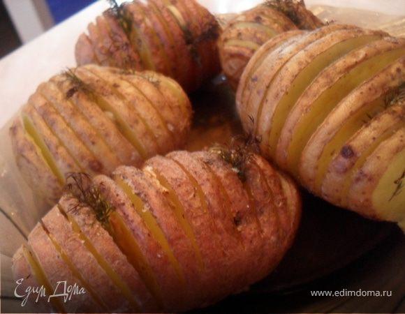 Картофель запеченный с чесноком.