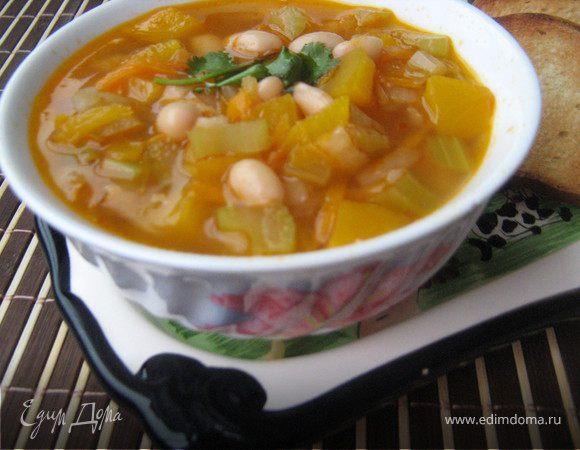 Фасолевый суп с тыквой и имбирём