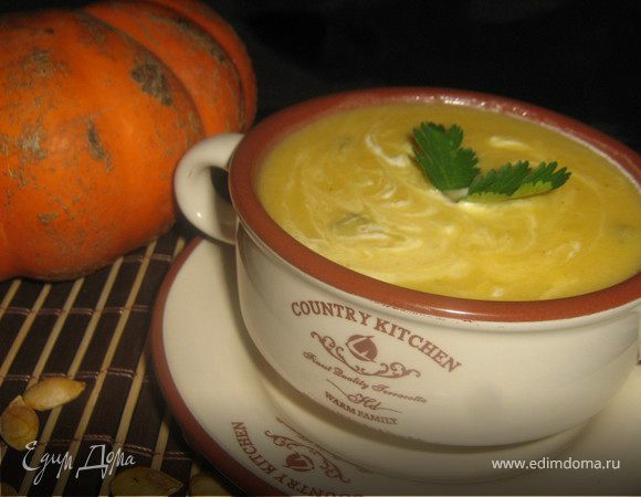 Тыквенный суп с грушами и корицей