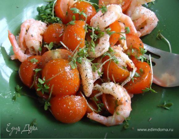 Салат с креветками на скорую руку