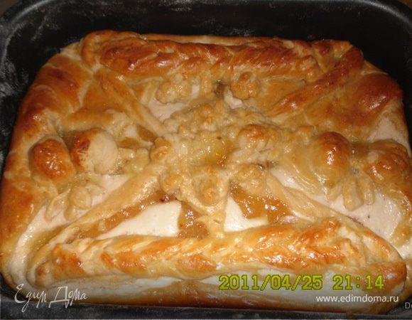 Пирог с творогом и лимонным джемом