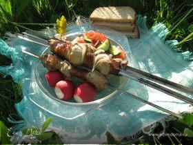 Имбирно-лимонный шашлык-ассорти из курицы и свинины
