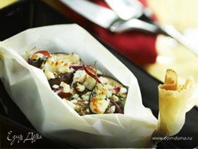 Гратен из баклажанов и помидоров с козьим сыром в лодочке SAGA