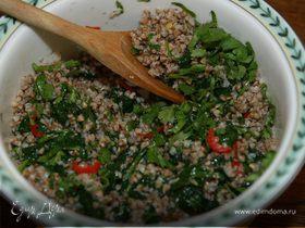 Гречка с чили и шпинатом
