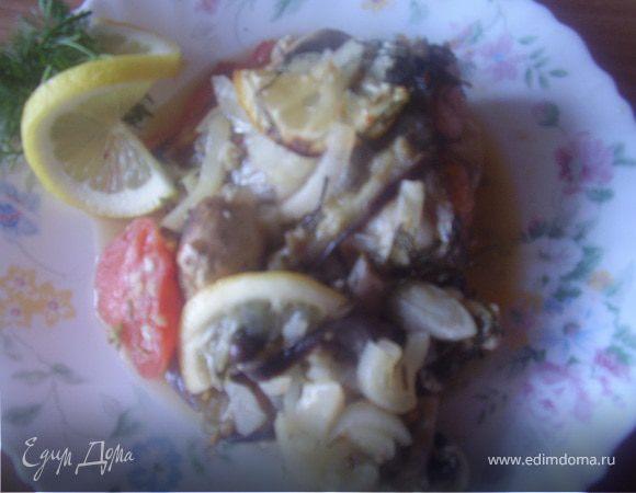 Запеченые хвосты лосося в овощном соку