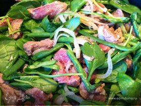 Маринованная телятина со шпинатом и фасолью