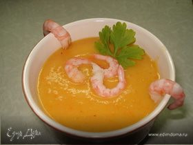 Суп-пюре с овощами и креветками