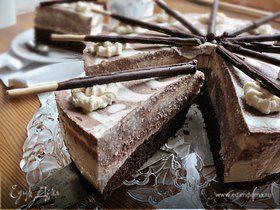 """Торт """"Зебра"""" с творожным и кофейным кремом"""