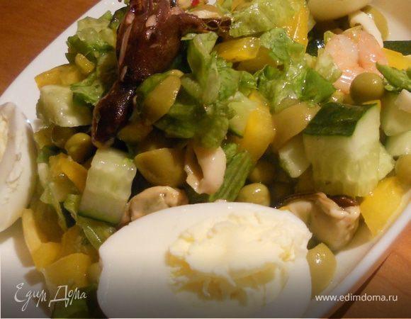 Овощной салат с мореподуктами