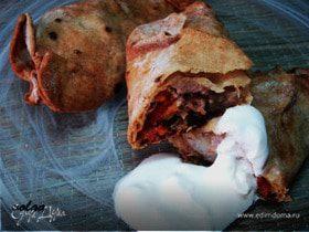 Мясо с овощами, запеченное в лаваше