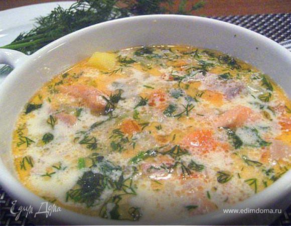 Рыбный суп с семгой и сливками