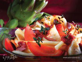 Макароны с артишоками, оливками и запеченными томатами