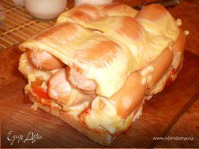 Сырная запеканка с сосисками. Пробный вариант.