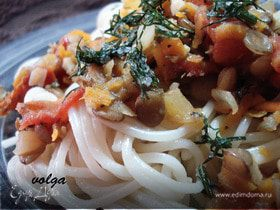 Спагетти с чечевичным соусом (для Вениамина и Эдгара)