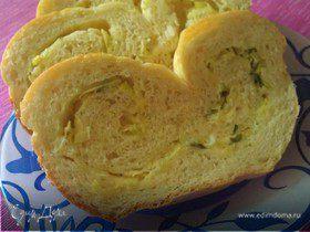 Картофельный хлеб с сыром и луком пореем