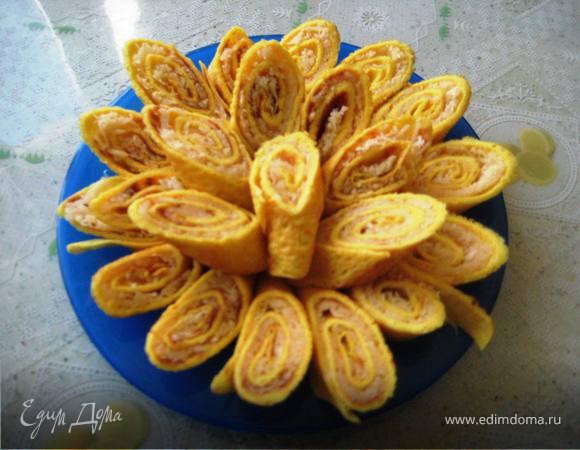 яичный рулет с начинкой рецепт с фото на сковороде