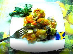 Рыба под овощной подушкой в горшочке