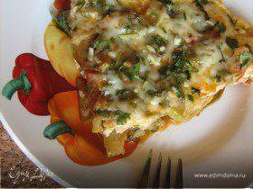 Фриттата с кабачками,помидорами,зеленью и пармезаном