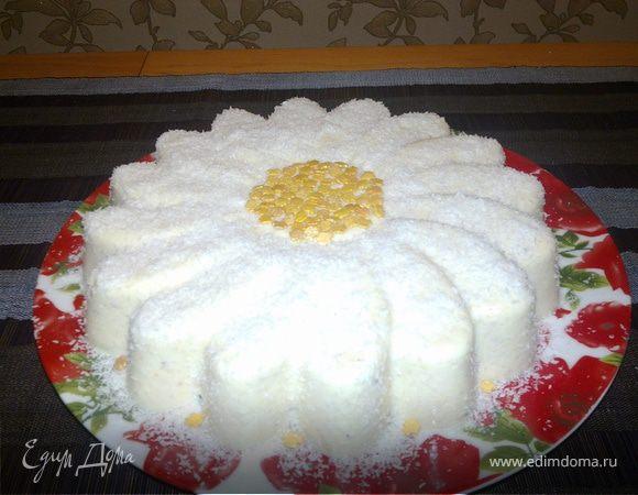 """Персиковый торт -суфле """"Нежная ромашка"""""""