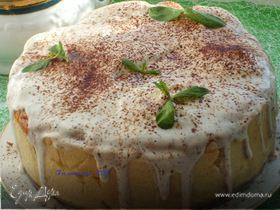 Кейк творожный со сливами, грушами и шоколадом