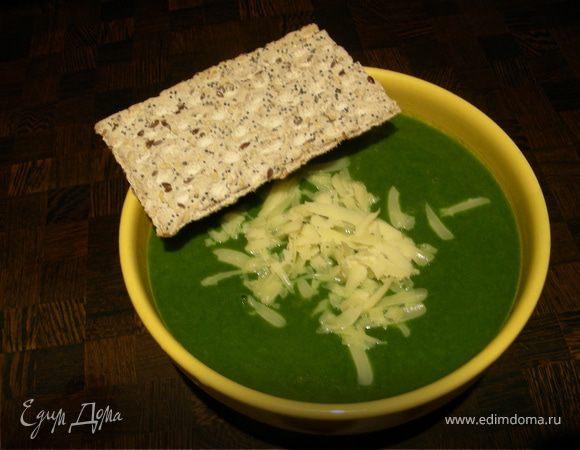 """""""Зелененький он был"""", или крем-суп из цветной капусты и шпината с кокосовым молоком"""