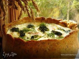 Пирог с брокколи и копчёным лососем