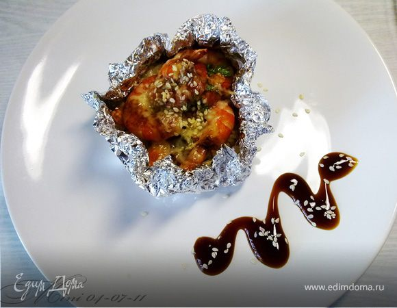 Рис, запеченный с креветками под соусом терияки