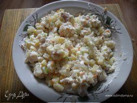 Салат из мяса сома