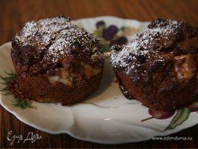 Шоколадные кексы с грушей