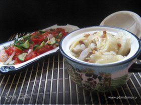 Кручёные паровые галушки с картофелем и шкварками.