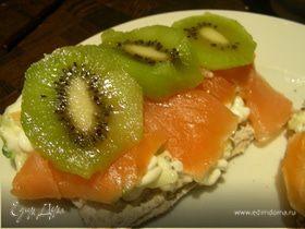 Сэндвичи с копченым лососем и киви