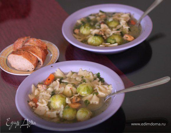 Суп из брюссельской капусты и морепродуктов