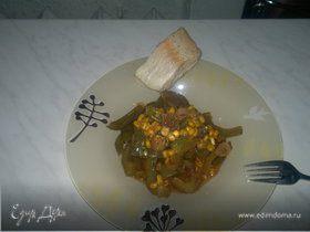 Гавайские овощи с фейхоа и отварная рыба.