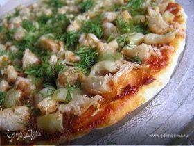 Пицца с курицей и перцем в СВЧ