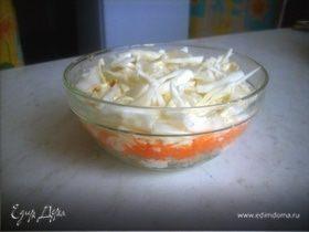 Салат из свежих овощейи белого мяса