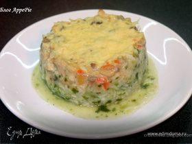 Овощное рагу с айвой на рисово-шпинатной подушке