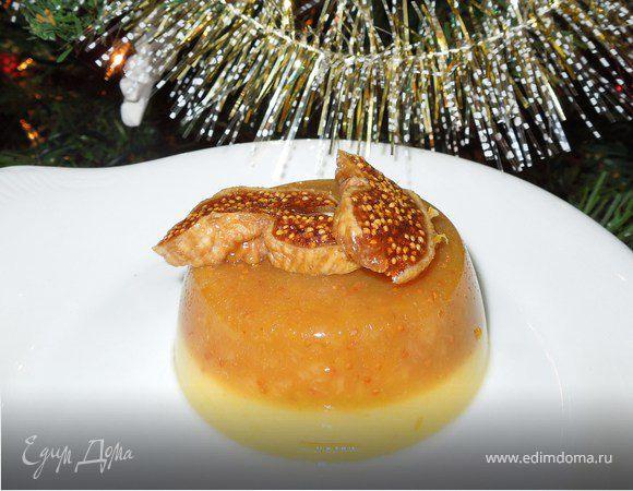 Апельсиновое желе с инжиром и кокосовым молоком на агар-агаре