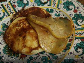 Оладьи из рикотты с карамелизированной грушей