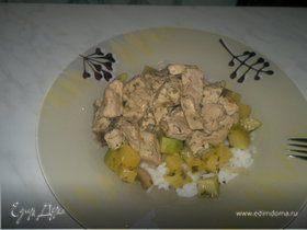 Рис арборио с гавайским чатни и свинина тушеная с травами