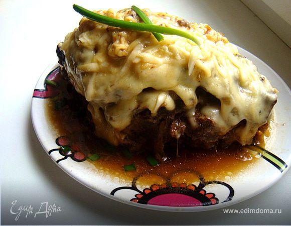 Печень говяжья, запеченная под сырной шапкой